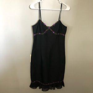 Ann Taylor Black Silk Dress with Flower Detail 6
